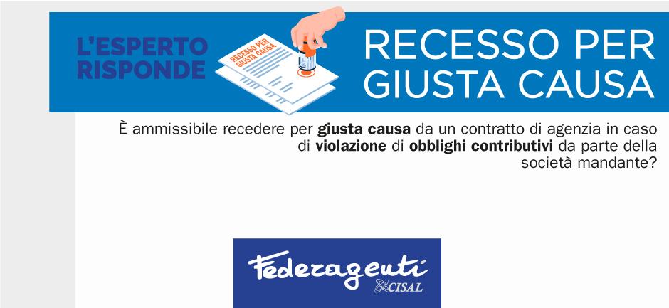 Federagenti - Recesso per giusta causa per mancati versamenti contributivi